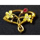 Broche pendentif en plaqué or art nouveau