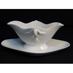 Saucière ancienne en porcelaine blanche
