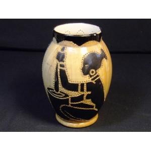 Grand photophore en céramique de Vallauris fabrique Grandjean-Jourdan décor signé Masson