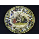 "Ancient plate in faience of Creil the ""metamorphoses of the day"""