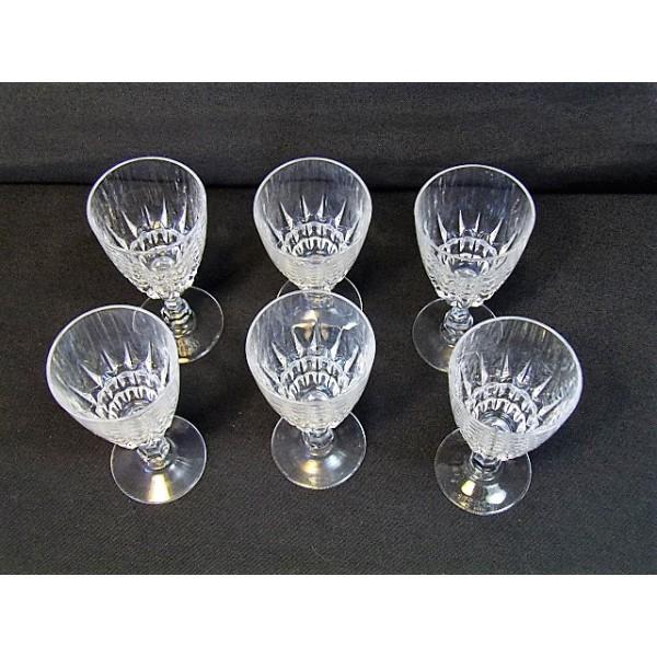 s rie de 6 verres porto en cristal d 39 arques mod le ancien brocante lestrouvaillesdecaroline. Black Bedroom Furniture Sets. Home Design Ideas