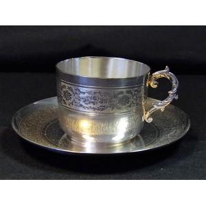 Tasse à thé en métal argenté