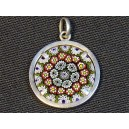 Murano millefiori silver and glass pendant
