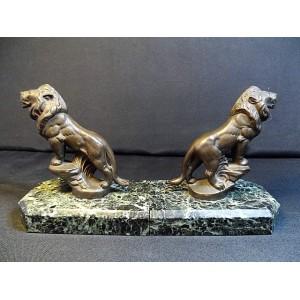 Paire de serres livres Lions sur marbre signés Frecourt