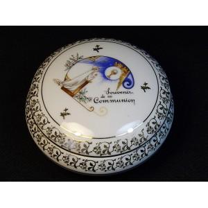 Boîte bonbonnière en porcelaine de Limoges Souvenir de 1ère Communion