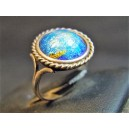 Old ring adorned with Limoges enamel signed Thoumieux