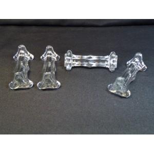 Série de 4 portes-couteaux en cristal signés Portieux