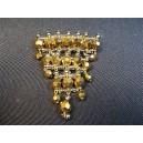 Brown bead curtain vintage brooch