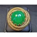 Broche fantaisie ancienne perle verte