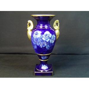 Vase en porcelaine bleu de four signé Marcel Chaufriasse