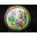 Broche ancienne plaque de porcelaine de Limoges