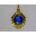 Médaille religieuse en plaqué or émail bleu