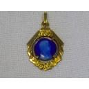 Religious medal enameled blue enamel