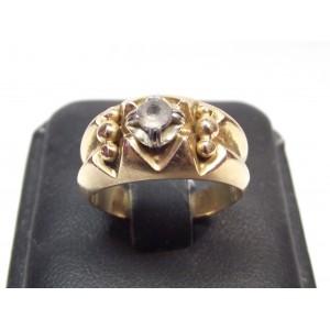 Bague ancienne en or 18 carats et pierre blanche