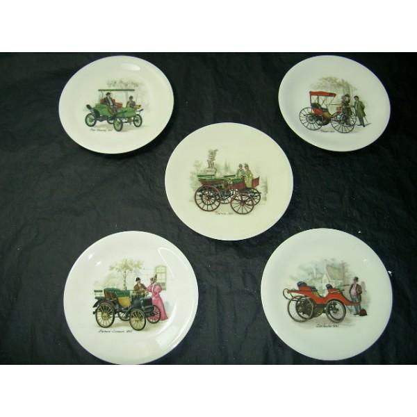 5 assiettes dessert d cor automobile brocante - Decoration assiette dessert ...