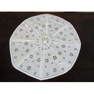 Garniture d'ombrelle en coton blanc ajouré et brodé