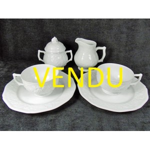 Service breakfast Raynaud Limoges porcelain model Pont aux