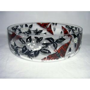 Coupe en cristal décor papillons peints